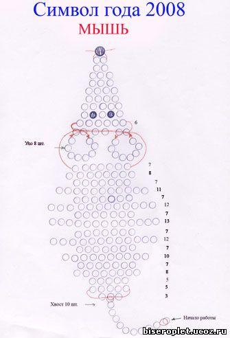 Схема плетения мышки из бисера.  Бисероплет.