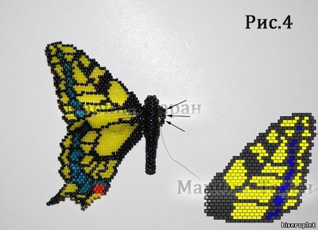 Схема плетения бабочки Махаон из бисера