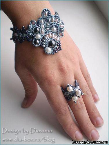Браслет и кольцо - сутажная техника